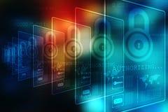 het 2d concept van de illustratieveiligheid: Gesloten Hangslot op digitale achtergrond, Internet-veiligheidsachtergrond Royalty-vrije Stock Fotografie
