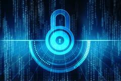het 2d concept van de illustratieveiligheid: Gesloten Hangslot op digitale achtergrond, Internet-veiligheidsachtergrond Stock Foto