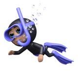 het 3d Duiker zwemmen stock illustratie