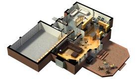 het 3D geleverde huis teruggeven Stock Foto