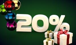 het 3d illustratie teruggeven van Kerstmisverkoop 20 percentenkorting Royalty-vrije Stock Foto's