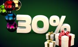 het 3d illustratie teruggeven van Kerstmisverkoop 30 percentenkorting Stock Afbeeldingen