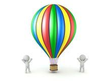 het 3D Karakters Toejuichen en Kleurrijke Hete Luchtballon Stock Fotografie