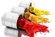 het 3d Kleurrijke verf bespatten uit blikken Stock Fotografie