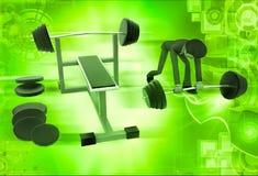 het 3d mens doen werkt bij gymnastiekillustratie uit Stock Foto's