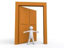 het 3d mens welkom heten bij deur Royalty-vrije Stock Afbeeldingen