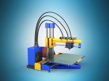 het 3d printer blauwe 3d teruggeven op blauwe achtergrond Royalty-vrije Stock Foto