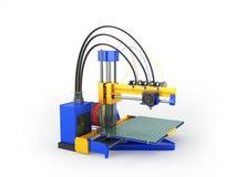 het 3d printer blauwe 3d teruggeven op witte achtergrond Stock Foto's
