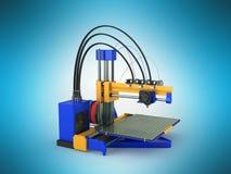 het 3d printer blauwe gele 3d teruggeven op blauwe achtergrond Royalty-vrije Stock Fotografie