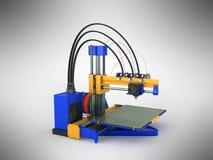 het 3d printer blauwe gele 3d teruggeven op grijze achtergrond Royalty-vrije Stock Foto