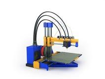 het 3d printer blauwe gele 3d teruggeven op witte achtergrond Royalty-vrije Stock Foto