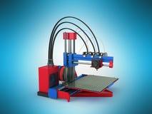 het 3d printer rode blauwe 3d teruggeven op blauwe achtergrond Royalty-vrije Stock Afbeeldingen