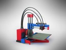 het 3d printer rode blauwe 3d teruggeven op grijze achtergrond Stock Afbeeldingen