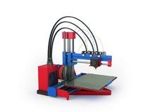 het 3d printer rode blauwe 3d teruggeven op witte achtergrond Royalty-vrije Stock Foto's