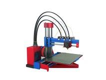 het 3d printer rode blauwe 3d teruggeven op witte achtergrond geen schaduw Stock Foto's