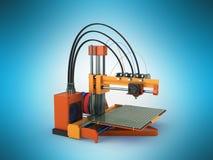 het 3d printer rode oranje 3d teruggeven op blauwe achtergrond Royalty-vrije Stock Foto