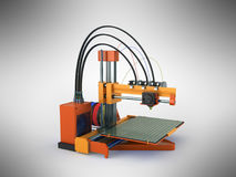 het 3d printer rode oranje 3d teruggeven op grijze achtergrond Stock Afbeeldingen