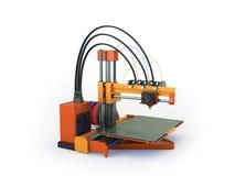 het 3d printer rode oranje 3d teruggeven op witte achtergrond Stock Foto's