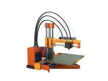 het 3d printer rode oranje 3d teruggeven op witte achtergrond geen schaduw Royalty-vrije Stock Foto's