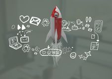 het 3D Raket vliegen en media grafiek van pictogrammentekeningen Royalty-vrije Stock Afbeelding