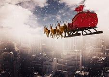 het 3D Rendierar berijden boven de stad Stock Afbeelding