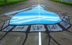 het 3D schilderen op asfalt die lopend blauw water tonen Kleurrijke achtergrond maldives Hulhumale Stock Afbeeldingen