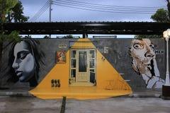 het 3D Schilderen op de toiletmuur van Cinta-Tuin Stock Foto