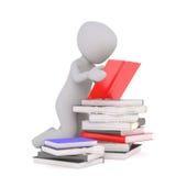 het 3d studing van Toon met stapel van boeken stock illustratie
