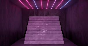 het 3d teruggeven, abstracte neonachtergrond, doorboort blauw het gloeien licht, trap in donkere ruimte vector illustratie