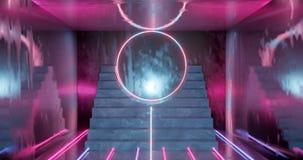 het 3d teruggeven, abstracte neonachtergrond, doorboort blauw het gloeien licht, trap in donkere ruimte stock illustratie