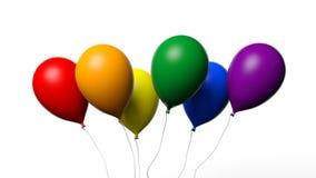 het 3d teruggeven baloons in vrolijke vlagkleuren Stock Foto's