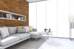 het 3d teruggeven bouwde houten muur met bank in witte woonkamer in Stock Foto