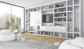 het 3d teruggeven bouwde witte plank met kinderspel in moderne witte woonkamer in Royalty-vrije Stock Afbeelding