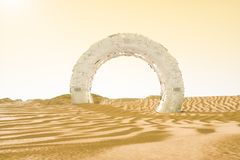 het 3d teruggeven, de brede woestijn, met strepenvormen royalty-vrije illustratie