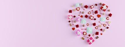 het 3d teruggeven de vorm van een hart met veel stelt voor Rood nam toe Royalty-vrije Stock Afbeeldingen