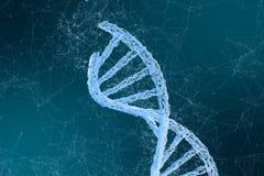 het 3d teruggeven, DNA met voortvloeiende lijnenachtergrond stock fotografie