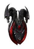 het 3D Teruggeven Dragon Shield op Wit Royalty-vrije Stock Foto