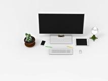 het 3d teruggeven Een bureau met een computer vector illustratie