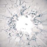 het 3d teruggeven, explosie, gebroken concrete muur, barstte aarde, kogelgat, vernietiging, abstracte achtergrond met volume stock illustratie