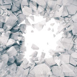 het 3d teruggeven, explosie, gebroken concrete muur, barstte aarde, kogelgat, vernietiging, abstracte achtergrond met volume royalty-vrije illustratie