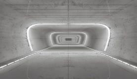 het 3d teruggeven Futuristisch leeg binnenland Royalty-vrije Stock Afbeeldingen