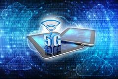 het 3d teruggeven, 5G Netwerk, 5G Verbindingsconcept Stock Illustratie