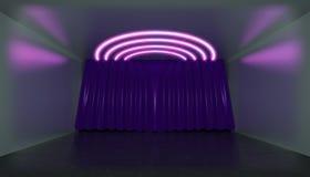 het 3d teruggeven Geometrisch cijfer in neonlicht tegen een donker theatraal stadium met een gordijn Lasergloed stock illustratie