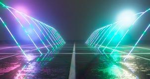 het 3d teruggeven Geometrisch cijfer in neonlicht tegen een donkere tunnel Lasergloed stock illustratie