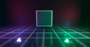 het 3d teruggeven Geometrisch cijfer in neonlicht tegen een donkere tunnel Lasergloed vector illustratie