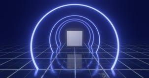 het 3d teruggeven Geometrisch cijfer in neonlicht tegen een donkere tunnel Lasergloed royalty-vrije illustratie