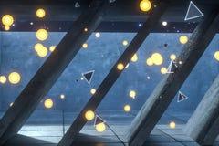 het 3d teruggeven, gloeiende brandvlieg in verlaten ruimte, donkere achtergrond stock foto
