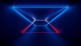 het 3d teruggeven, gloeiende lijnen, neonlichten, vat psychedelische achtergrond, het malplaatje van de productshowcase, ultravio royalty-vrije illustratie