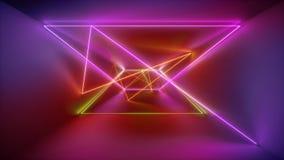 het 3d teruggeven, gloeiende lijnen, neonlichten, vat psychedelische achtergrond, rode roze gele trillende kleuren samen, toont d vector illustratie