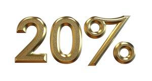 het 3d teruggeven Gouden percentages op een witte achtergrond Stock Foto